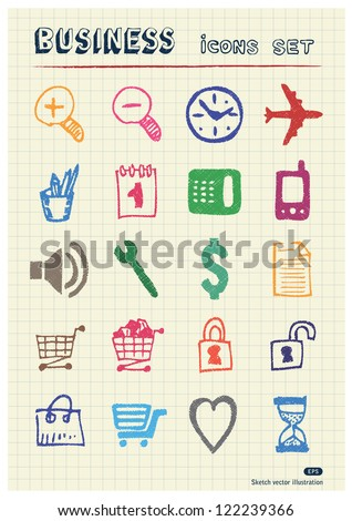 Business, shopping and work web icons set drawn by color pencils. Hand drawn vector elements pack isolated on paper - stock vector