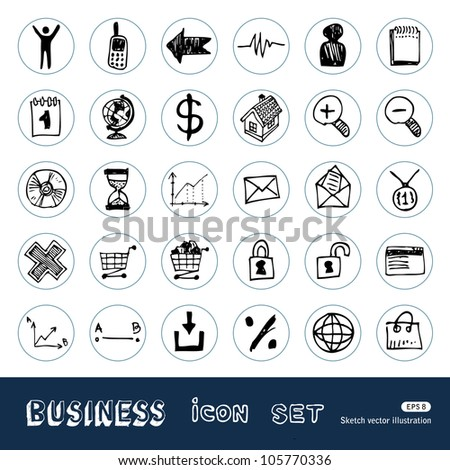 Business, shopping and work web icons set. Hand drawn sketch illustration isolated on white background - stock vector