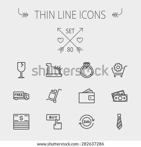 Business shopping thin line icon set for web and mobile. Set includes- broken glass wine, free delivery van, stack of money, vintage cash register, trolley, diamond ring, 24 hrs service, necktie icons - stock vector