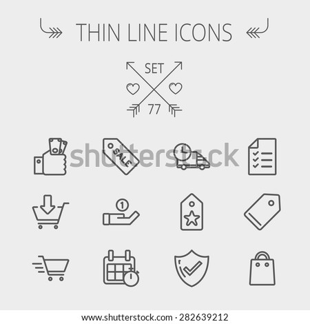 Business shopping thin line icon set for web and mobile. Set includes- sale tag, calendar with stopwatch, cash on hand, fast delivery, checklist, empty tag, shopping bag icons. Modern minimalistic - stock vector