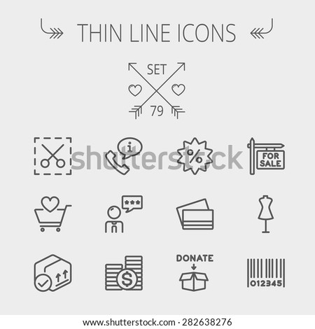 Business shopping thin line icon set for web and mobile. Set includes- stack of coins, cart with heart, box with validation, credit cards, donation box, mannequin, barcode icons. Modern minimalistic - stock vector