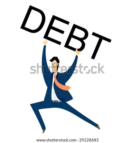business sign #4 - debt - stock vector