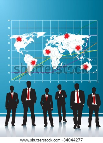 business silhouette and background blue