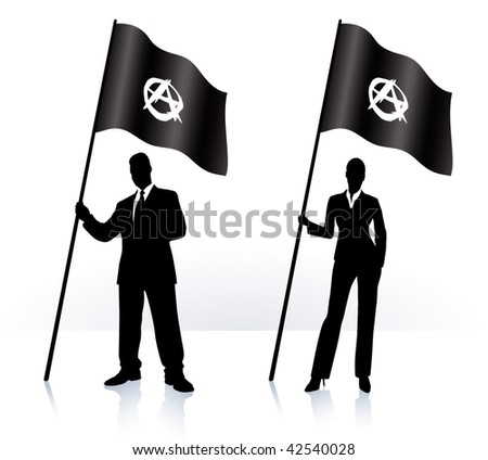 Business silhouettes with waving flag of Anarchy Original Vector Illustration AI8 compatible - stock vector