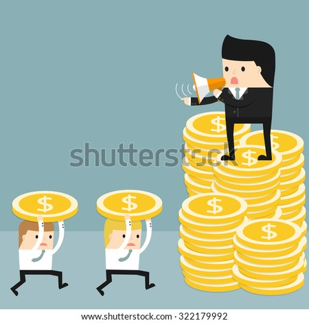 Business situation. Boss standing on a pile of coins and commanding  officers into a megaphone. Employees run work. Vector illustration.