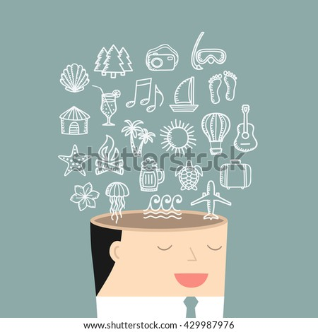 Business situation. Businessman dreaming about vacation. Vector illustration.