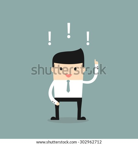 Business situation. Businessman found a solution to the issue.. Vector illustration. - stock vector