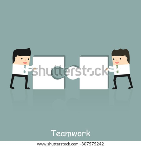Business situation. Businessmen folded puzzle. The concept of teamwork. Vector illustration.