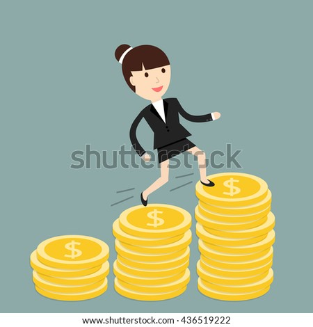 Business situation. Businesswoman climbs the stairs of money. Symbol of revenue growth. Vector illustration.