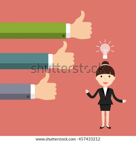 Business situation. Businesswoman get a new good idea. Vector illustration.