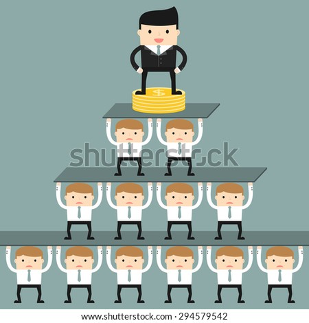 Business situation. Corporate hierarchy in the company. Vector illustration.