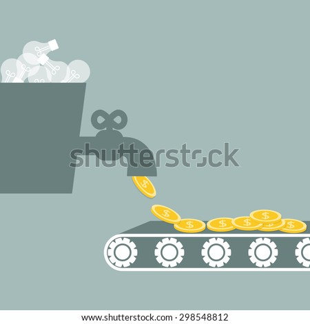 Business situation.Ideas are processed in the money. Vector illustration. - stock vector