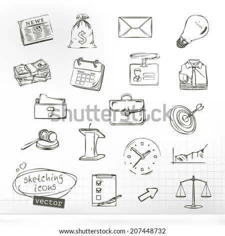 Business sketches of icons, vector set - stock vector