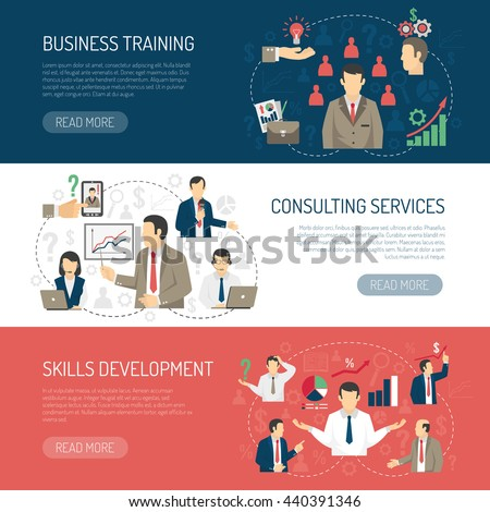 Business skill development training and consulting services website design 3 horizontal flat banners abstract isolated vector illustration     - stock vector