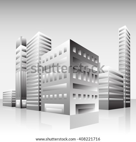 business skyscrapers city landscape downtown black white - stock vector