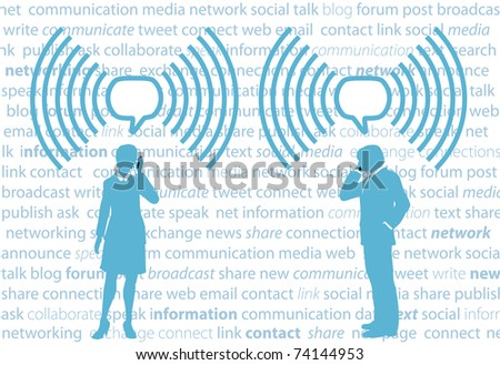 Business smartphone people communicate in WiFi speech bubbles on social media background - stock vector