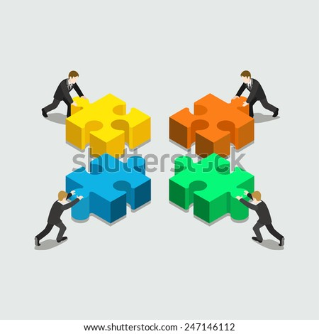 Business solution in partnership concept flat 3d web isometric infographic vector. Four businessmen pushing pieces of puzzle. Creative people collection. - stock vector