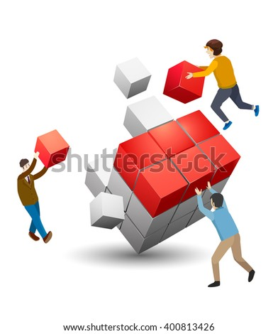 Business solution smart idea concept flat 3d web isometric infographic vector. businessmen solving rubikcube. Creative people collection. - stock vector