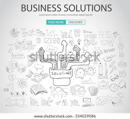 Business Solutions concept  with Doodle design style :finding solution, brainstorming, creative thinking. Modern style illustration for web banners, brochure and flyers. - stock vector