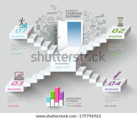 Business staircase thinking idea, Staircase doorway conceptual. Vector illustration. can be used for workflow layout, banner, diagram, number options, infographics, web design.  - stock vector