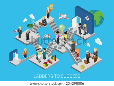 Business start, ladders to success flat 3d isometric design infographic concept template vector illustration. Creation development growth movement insurance partnership HR target trophy promotion. - stock vector