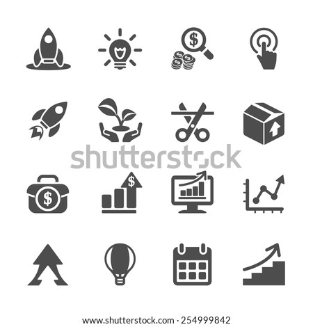 business start up icon set, vector eps10. - stock vector