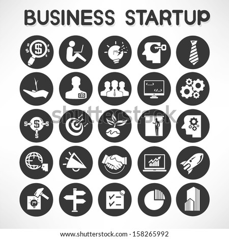 business start up icons set - stock vector