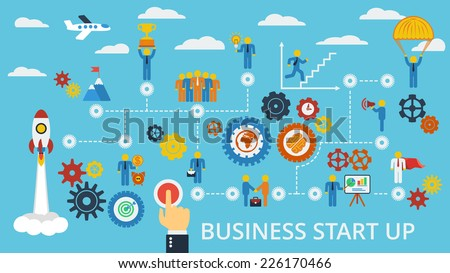 Business start up. Vector scheme with humans, icons and gears. - stock vector