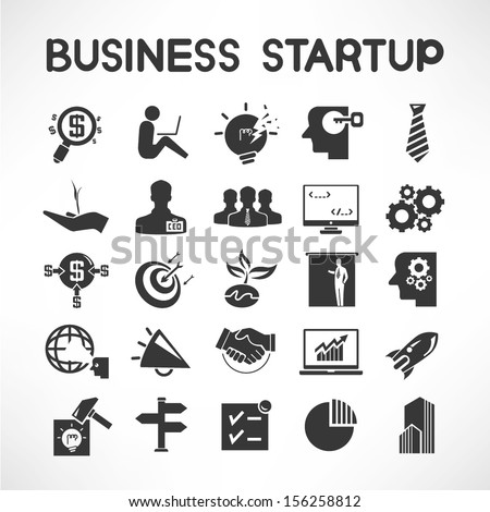 business startup icons - stock vector