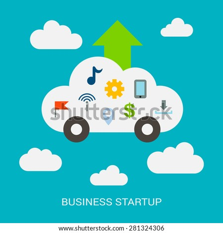 Business startup. The flat style. Light abstraction. Cloud, incorporates a variety of features. Illustration isolated on a turquoise background. - stock vector
