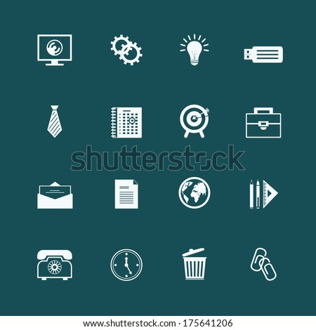 Business stationery supplies internet collection of staples globe monitor and memory card isolated vector illustration