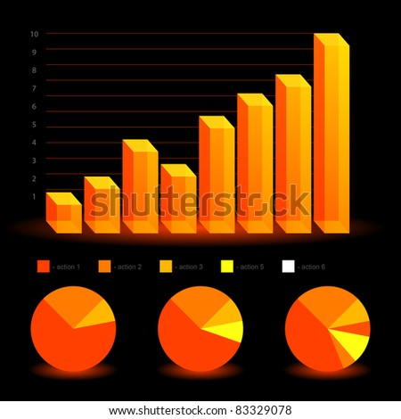 Business statistics graphs and charts - stock vector
