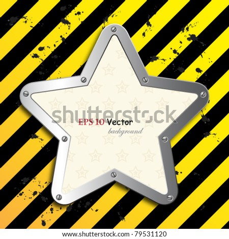 business steel plate background with vintage star