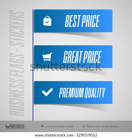 Business stickers as simple flags, banners, ribbons. Vector design elements. - stock vector