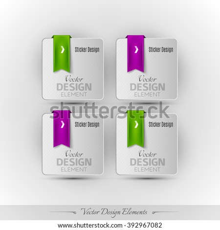 Business stickers on the gray background. Vector design elements for infographics and web presentations. - stock vector
