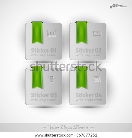 Business stickers on the white background. Vector design elemnts for infographics and web presentations. - stock vector