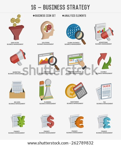 Business strategy and business marketing icons,clean vector - stock vector