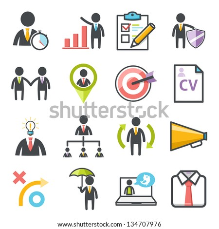 Business, strategy and Human resource. People management icons Harmony series icons. - stock vector