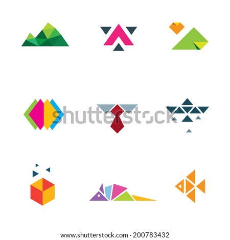 Business strategy geometric paper form mosaic icon logo set progress - stock vector