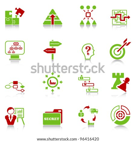 Business strategy icons - green-red series - stock vector