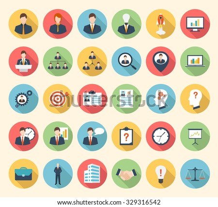 Business, strategy, management and marketing, office, people and human resources colorful flat design icons set. template elements for web and mobile applications - stock vector