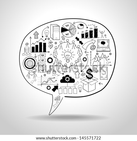 business strategy plan concept idea, speech bubble with doodle icons. File stored in version AI10 EPS. - stock vector