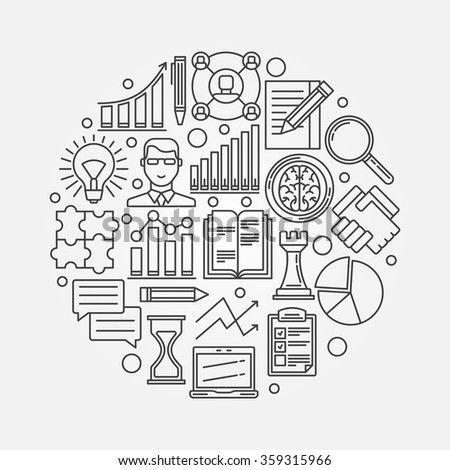 Business strategy planning illustration - vector business plan round design template made with thin line icons - stock vector
