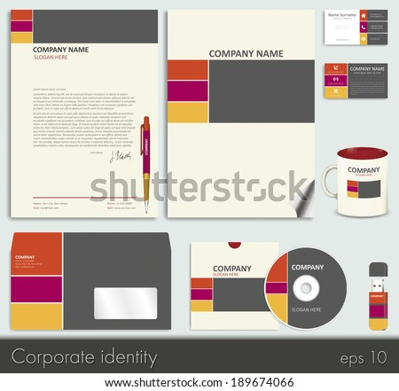 Abstract pink business style corporate identity stock vector business style corporate identity template 7 blank card pen cd wajeb Images