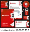 Business style, corporate identity template 7 (red industrial):  blank, card, pen, cd, note-paper, envelope - stock vector