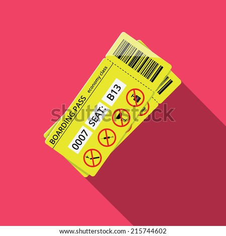 Business style icon of boarding pass to economy class. Flat vector illustration - stock vector