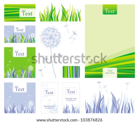 Business style template with nature elements - stock vector