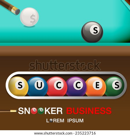 Business Success Concept. Billiard game Complete. Vector illustration - stock vector