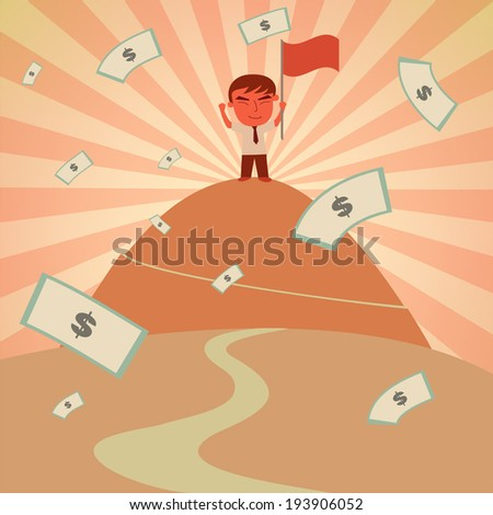 Business Success Concept Businessman success on top of mountain with Flag and Money Rain Vector - stock vector