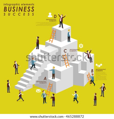 Business success concept with people climbing up to stairs in 3d isometric flat style